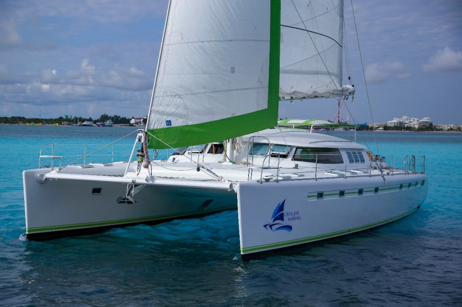 front view of catamaran
