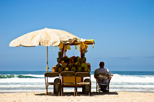 Vendor on the beach in Ensenada, Mexico