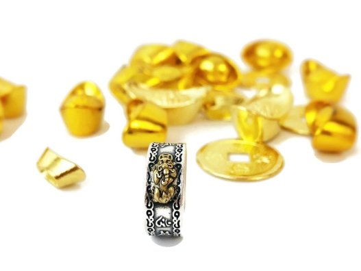 Feng Shui Pixiu Mani Mantra Protection Wealth Adjustable Ring | Mexten