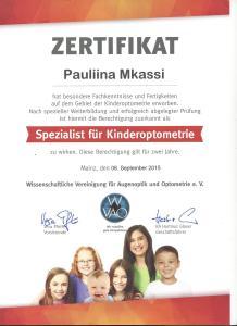 Zertifikat Kinderoptomatrie