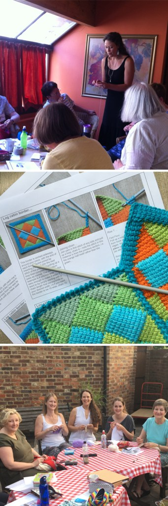 photo of Merrian teaching crochet classes in Surrey