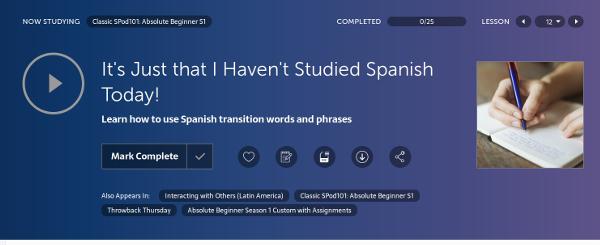 SpanishPod101 Audio Lesson Review