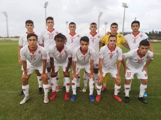 The Malta U-19 team before their first friendly match against Azerbaijan. PHOTO: Joe Borg/MFA