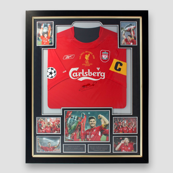 03c18bad5 2005 Champions League final replica shirt signed by Steven Gerrard in a  bespoke quality frame