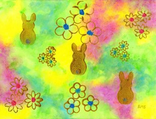 Trio of bunnies by Rosaleen Moriarty-Simmonds OBE