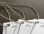 Stitched booklets with border detail strung with our 6-ply hemp.