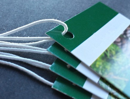 Green and white tags with foliage graphic strung with standard elastic in white.