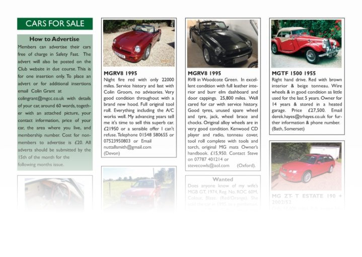 MG Car Club - Cars for Sale