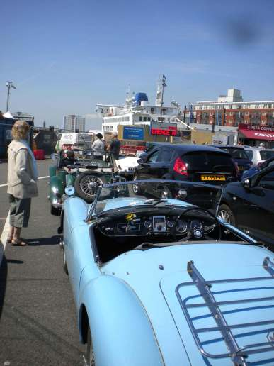 The cars of Hubbard,Scott and Gough await the ferry