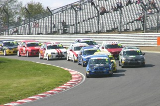 The Trophy Championship rounds Paddock Bend for the first time