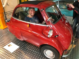 Mrs Glover fits nicely into a bubble car ?!