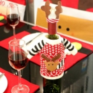 Christmas Deer Sweater Cloth Style Dinner Table Decoration Champagne Wine Bottle Bag, Body Size: 18cm x 13cm
