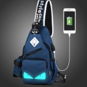 Multi-Function Portable Casual Canvas Dark Blue Luminous Demon Chest Bag Outdoor Sports Shoulder Bag with External USB Charging Interface & Water Cup Bag & Earphone Jack for Men / Women / Student, Size: 33*18*9cm