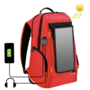 HAWEEL Outdoor Multi-function 7W Solar Panel Powered Comfortable Breathable Casual Backpack Laptop Bag with Handle, External USB Charging Port & Earphone Port(Red)