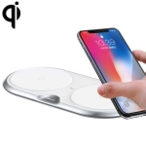Baseus Zinc Alloy 10W Max Fast Charging Pad Dual Wireless Charger with QC 3.0 Power Adapter, EU Plug, For iPhone, Galaxy, Huawei, Xiaomi, LG, HTC and Other Smart Phones(Silver/EU Plug)