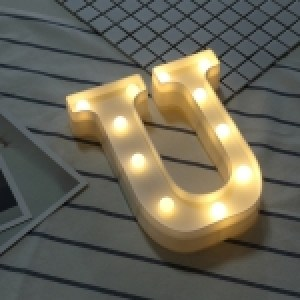 Alphabet English Letter U Shape Decorative Light, Dry Battery Powered Warm White Standing Hanging LED Holiday Light