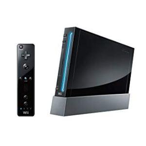 Wii: Nintendo Wii konsoli (musta) +ohjaimet + kaapelit (käytetty)