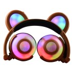 Bear Ear Headphone Gaming Headset with LED Light (Brown)