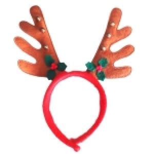 Brown Non-woven Antler Headband Hairband with Leaves & Bell, Pack of 2