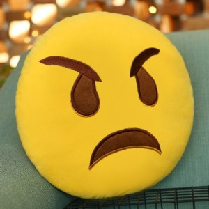 Angry Face Creative Emoji Throw Pillow Back Pillow, Size: About 28cm x 28cm (2)