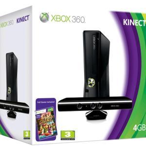 Xbox 360: (F) Xbox 360 4GB konsoli + Kinect & Kinect Adventures (Laatikossa/Faulty)(UK)