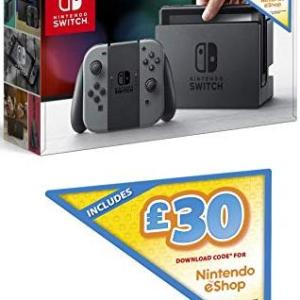 Switch: Nintendo Switch konsoli with Grey Joy-Con (Including £30 EShop Credit) (UK)