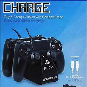 PS4: Officially Licensed Dual Ohjain Stand with Twin USB Charging Cables (Musta)