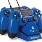 PS4: Officially Licensed Dual Ohjain Stand with Twin USB Charging Cables (Blue)
