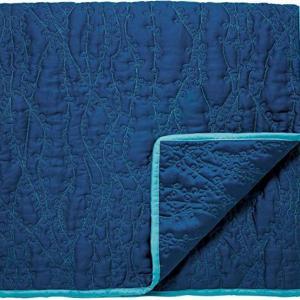 Clarisssa Hulse Clover Stripe Decorative Throw, 170 cm Length x 220 cm Width, Navy blue