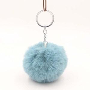 Pörröinen avaimenperä pallo (Vaalean Sininen)