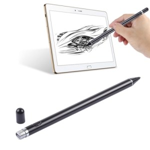 Long Universal Rechargeable Capacitive Touch Screen Stylus Pen with 2.3mm Super????ne Metal Nib, For iPhone, iPad, Samsung, and Other Capacitive Touch Screen Smartphones or Tablet PC(Black)