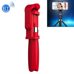 2 in 1 Foldable Bluetooth Selfie Stick Tripod for iPhone and Android Phones(Red)