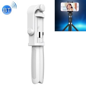 2 in 1 Foldable Bluetooth Selfie Stick Tripod for iPhone and Android Phones(White)