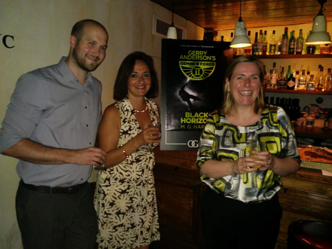 Jamie Anderson, MG Harris and Lisa Milton (Orion) at the Black Horizon cover reveal