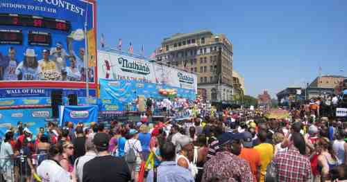 Contest Staging for Nathan's Famous Coney Island Hot Dog Eating Contest