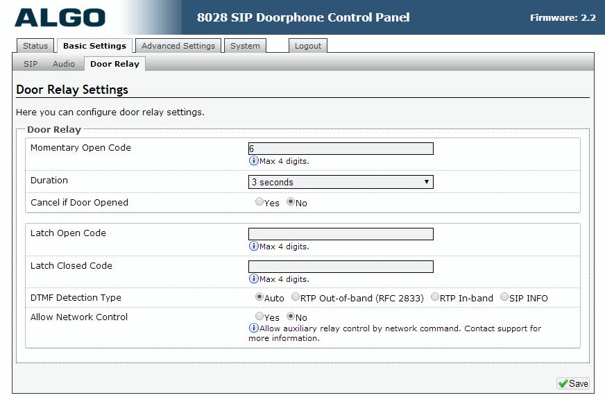 Algo 8028 SIP Door Phone - Web UI - Basics - Door Relay