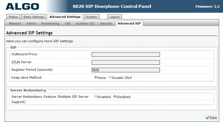 Algo 8028 SIP Door Phone - Web UI - Advanced SIP