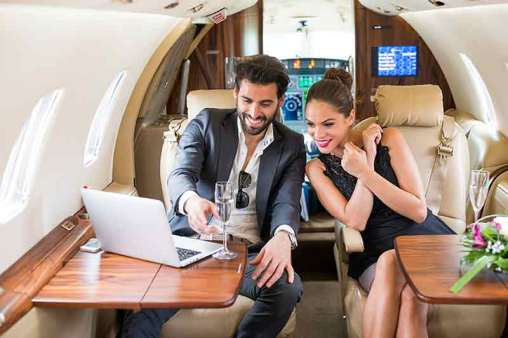 couple on private plane