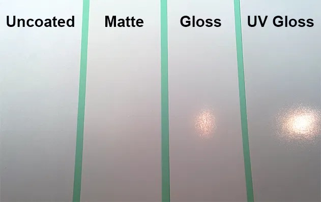 Uncoated vs Matte vs Gloss paper