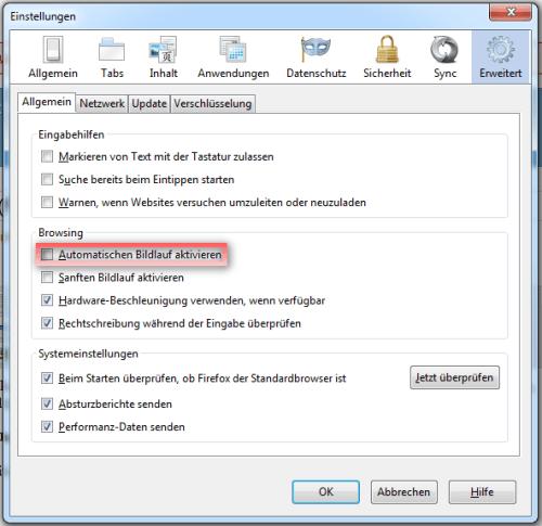 automatischer Bildlauf in den Firefox-Einstellungen