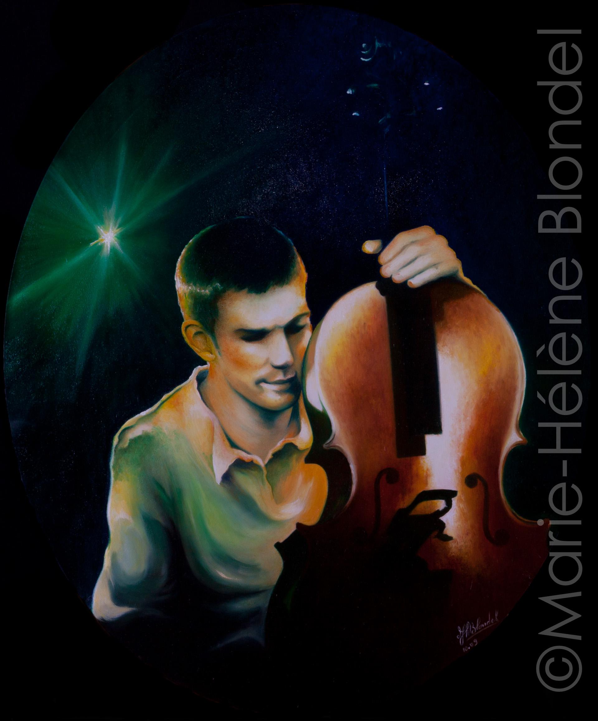 Le violoncelliste – 2009 – Huile sur toile – 60 X 50 (ovale)