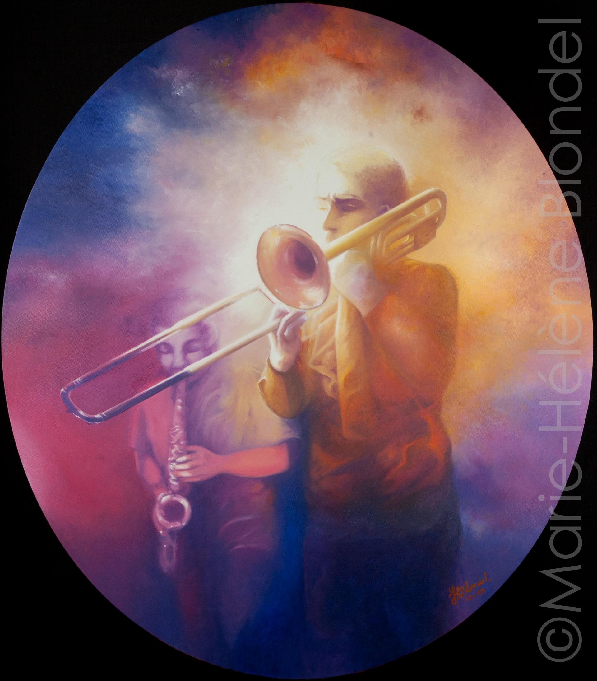 Et que sonne le trombone ! – 2009 – Huile sur toile – 80 X 70 (ovale) – 560€