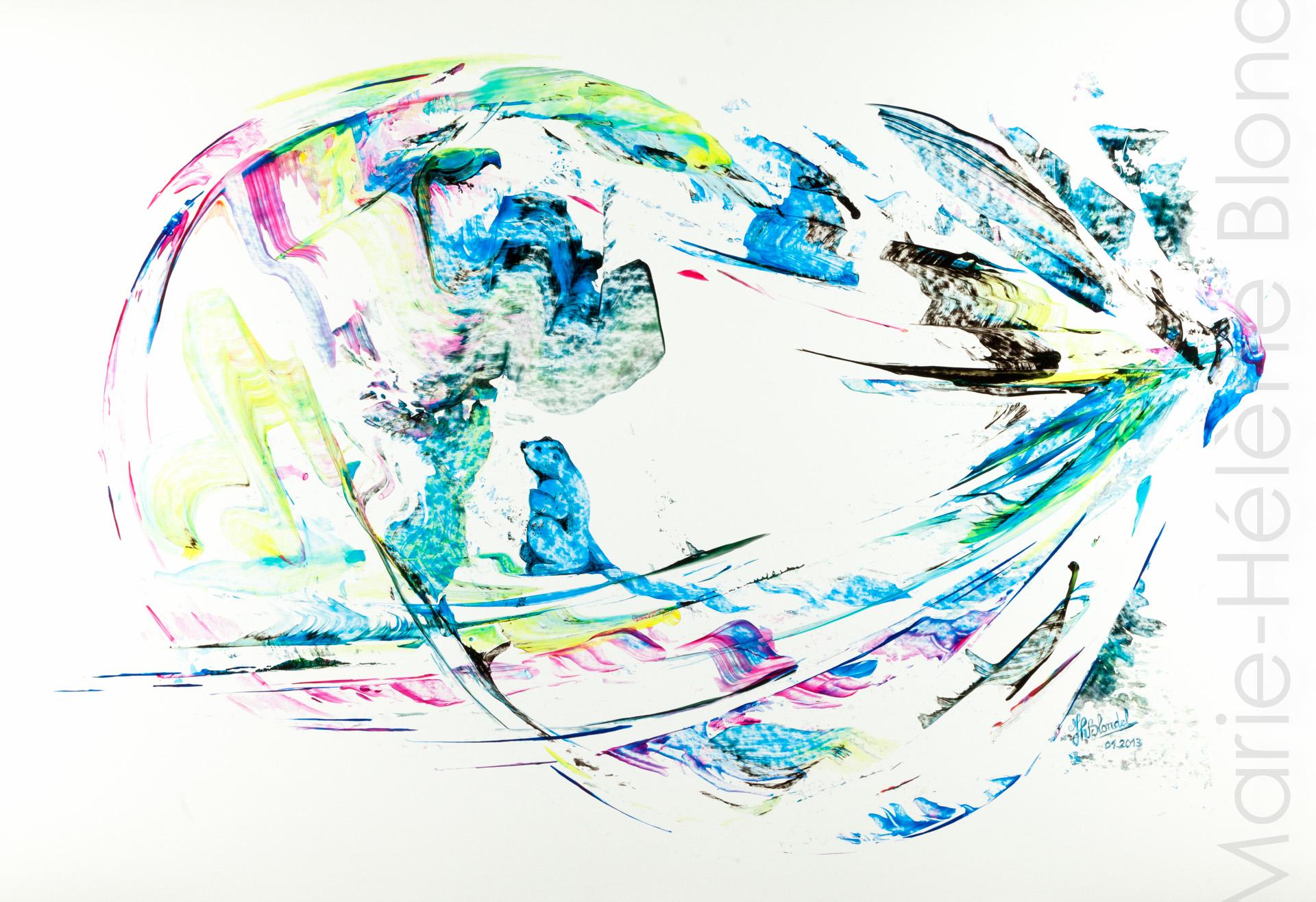 La marmotte et l'oiseau – 2013 – Acrylique sur carton – 50 X 65