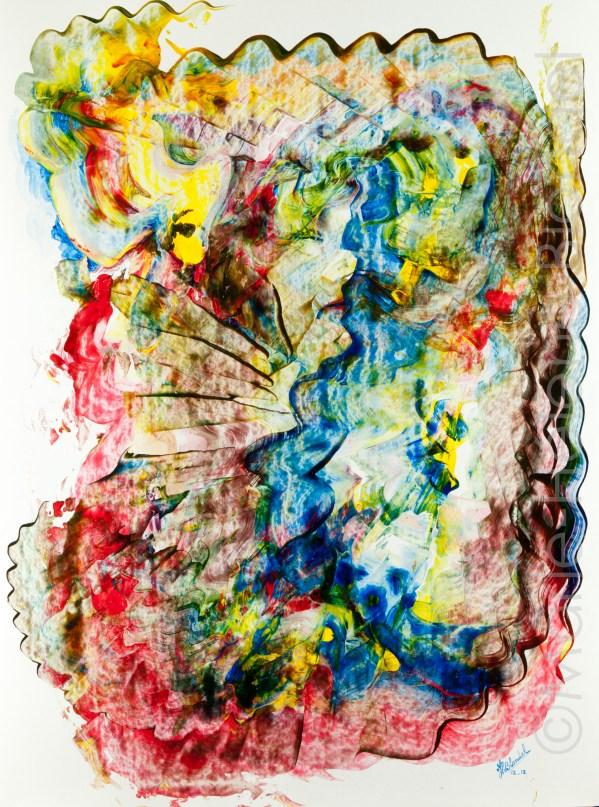 La femme au chien – 2012 – Acrylique sur carton – 65 X 50