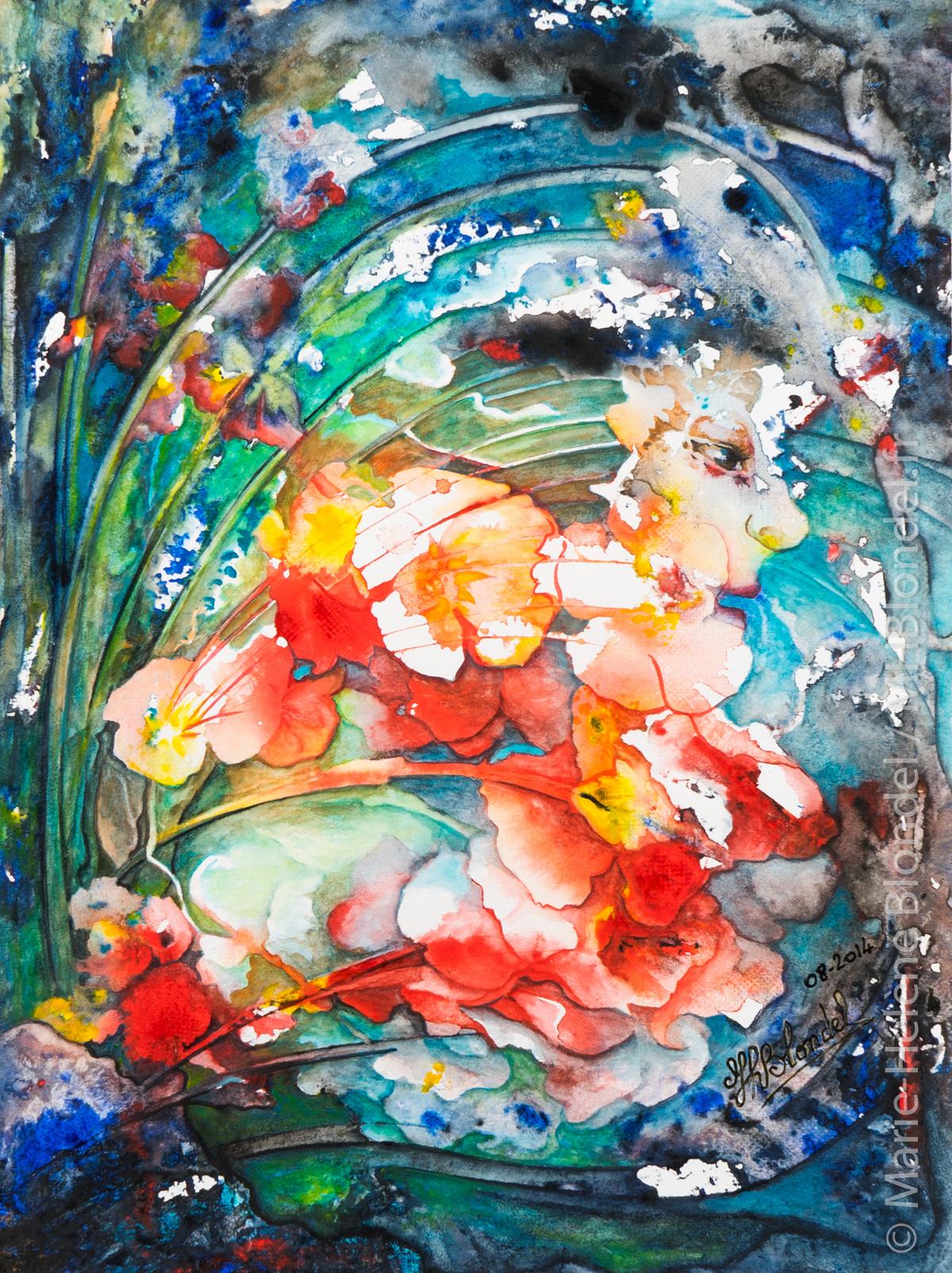 Fleur d'eau – Aquarelle sur papier – 36 X 27 – non dispo