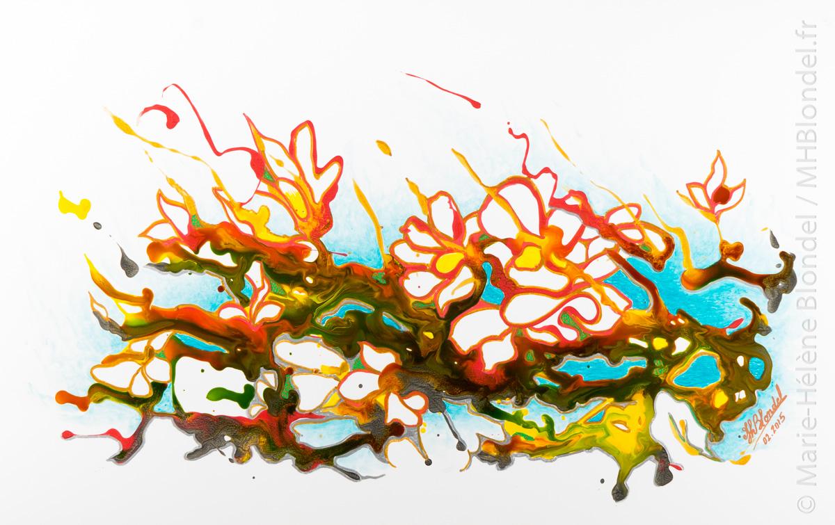 """""""Éclats""""…Aquaflore  –  Techniques mixtes sur carton plume – 32,5 X 50"""