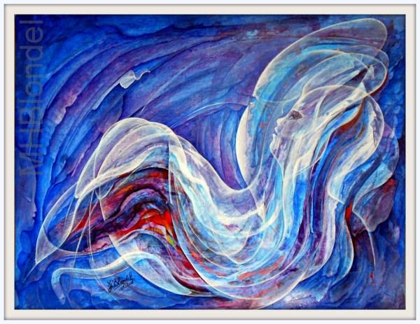 Médusine – Acrylique sur carton fort – 50 X 65 cm – 300€