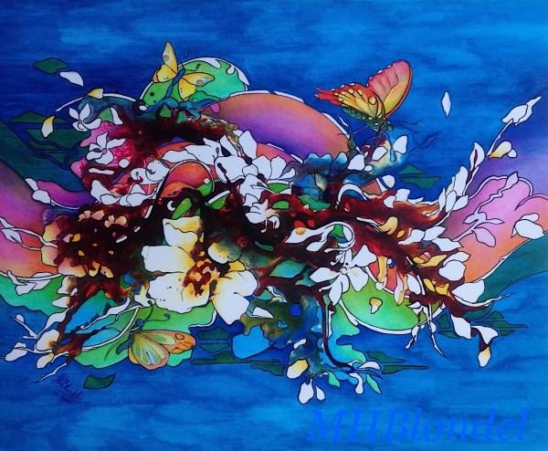 Flowery wave – Techniques mixtes sur toile – 73 X 60 cm – 480€