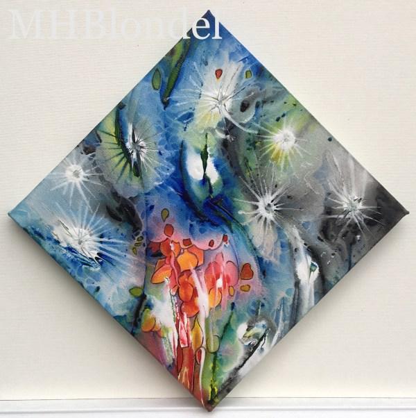 P'tit carré de Noël 11 – Acrylique sur toile – 20 X 20 cm – Non disponible