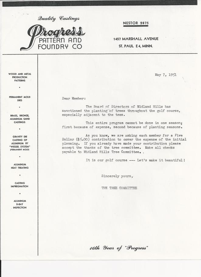 1951 Tree Committee Letter